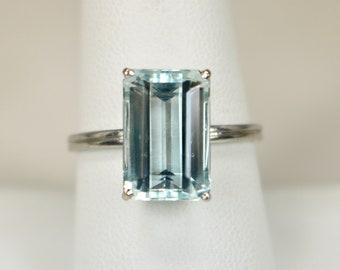 656ed74df35bd6 Vintage Ladies Ring 18K White Gold 4.91 Carats emerald cut Aquamarine  Solitaire Sz 9 Anniversary March Birthstone c1970s