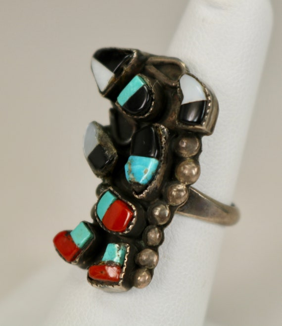 Vintage Old Pawn Native American Zuni Hand Made Woman/'s Men/'s Turtle Ring 925 Sterling Silver Gemstone Inlays Sz 5.75 c1960s