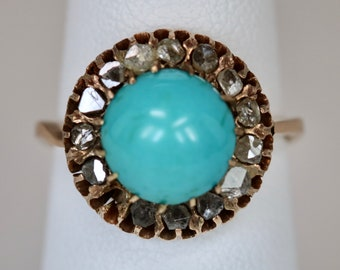 Antique Victorian Hand Fabricated Ladies Ring 10K Rose Gold Turquoise Rose Cut Diamond Halo Size 5.5 c1900s  As Is
