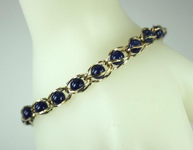 4693b7920 Vintage Signed 14K Yellow Gold Lapis Lazuli Link Bracelet | Etsy