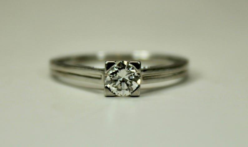 af44b07f04a12 Antique Estate Tiffany Engagement Ring 0.3CT Round Diamond image 0 ...