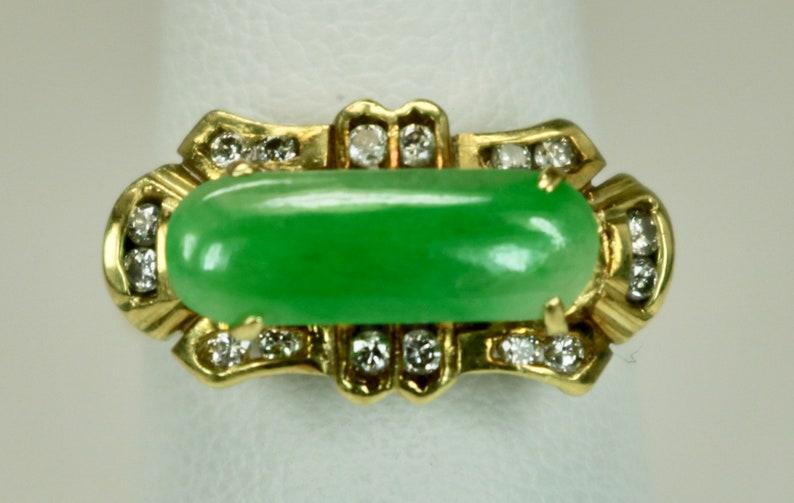 e4229ad1f9c Vintage Ladies Ring 18K Yellow Gold 1.3 Carats Green Jadeite | Etsy