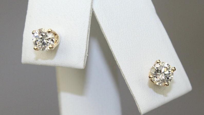 2c2ea4dd2 Vintage 14K Yellow Gold Round Natural Diamond Stud Earrings | Etsy