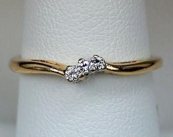 Vintage Signed Ladies 14K Yellow Gold Ring or Wedding Band Three Diamonds Engagement Promise Wedding Anniversary Stack  Sz 7 c1970s Retro