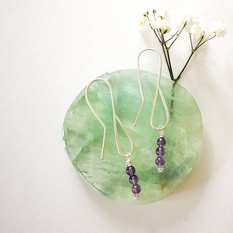 sterling silver purple handmade dangly drop beaded jewellery earrings Boho style 925 Delicate amethyst