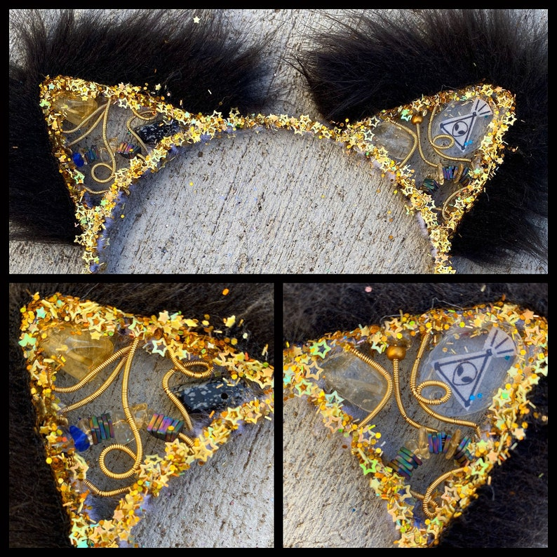 ready 2Ship KITTY EARZ   black Fur  with citrine And image 0
