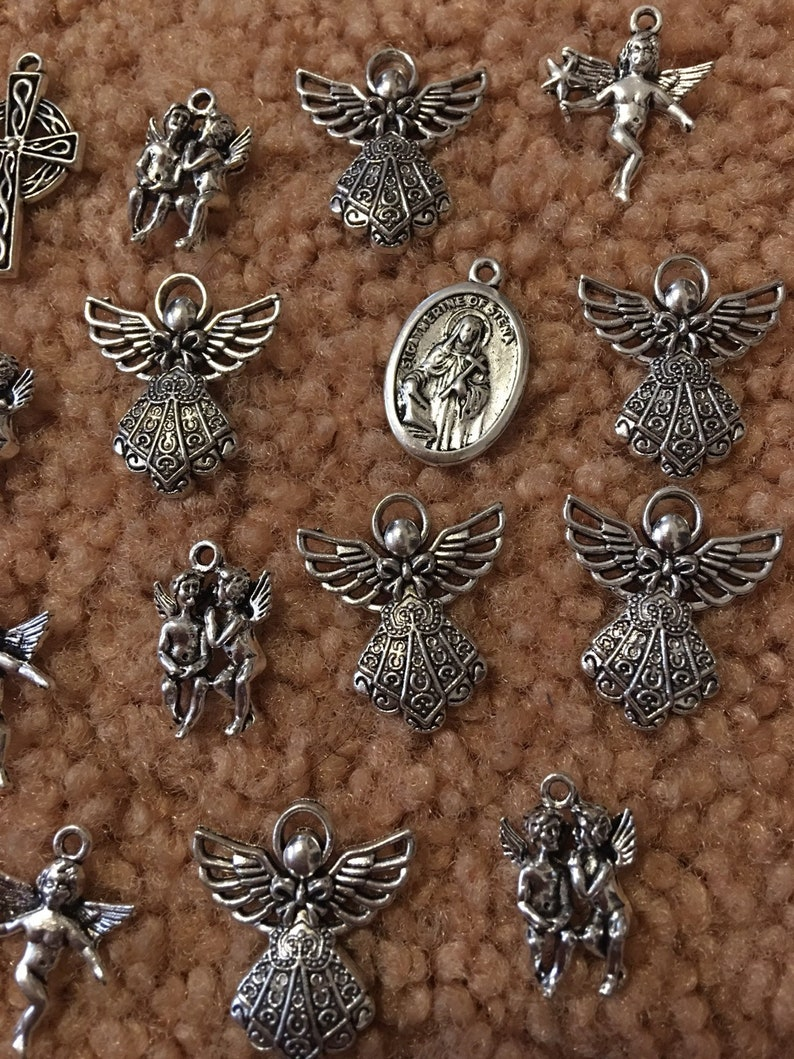 Gaurdian Angel  religious Mix charms .. 19 pieces total image 0