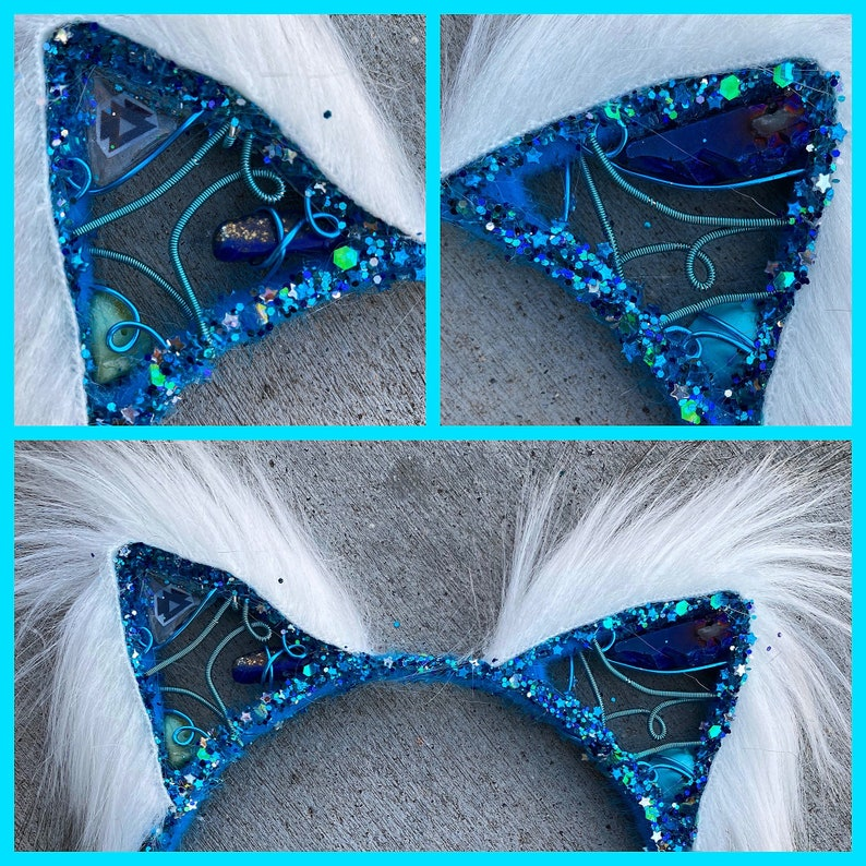 blue wakaan KITTY . Fluffy earz . With titanium quartz lapis image 0