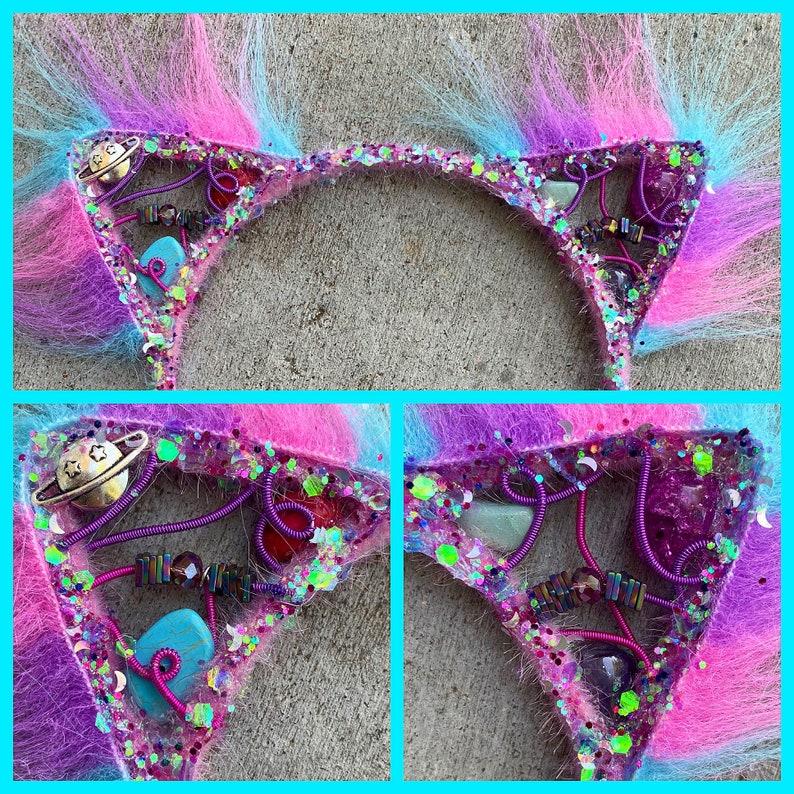 GAlaXy KITTEN  Kitty Earz  wire wrapped with aventurine image 0