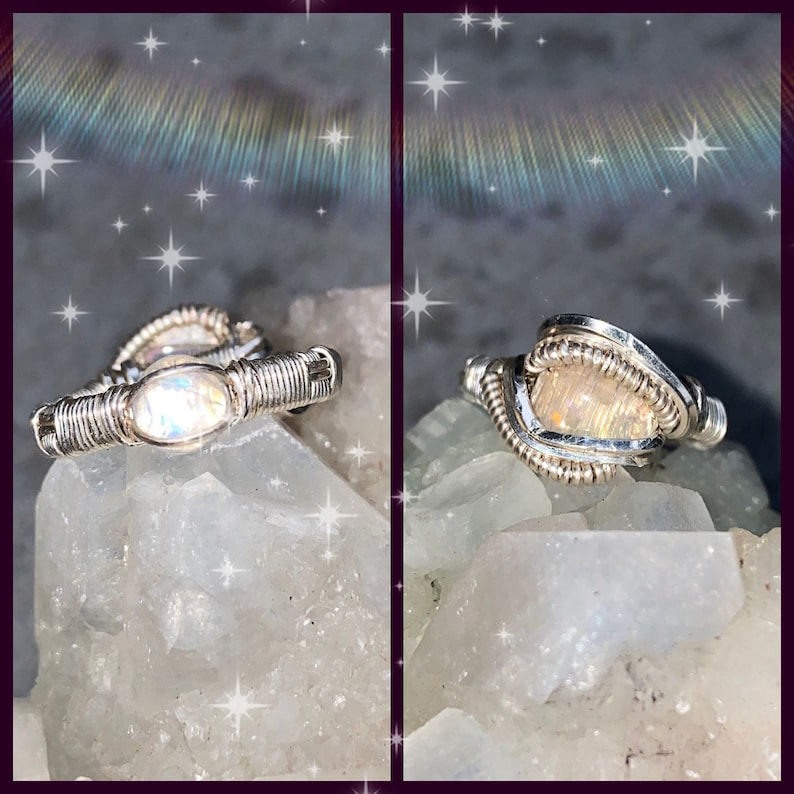 size 6  rainbow mOonstOnE &  OPAL  wire wrapped ring image 0