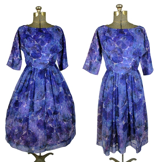 1960s Fit and Flare Dress, 1960s Purple Floral Chi