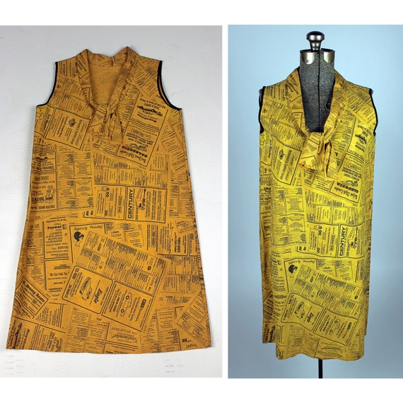 1960s Paper Dress, 1960s Paper Newspaper Dress, 60