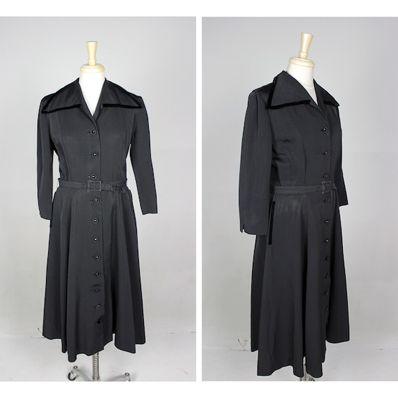 1950s Black Dress, 1950s Black Swing Dress, 1950s
