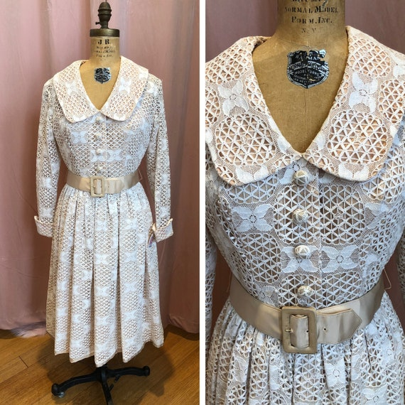 1950s Swing Dress, 1950s Fit n Flare, 1950s Lace D