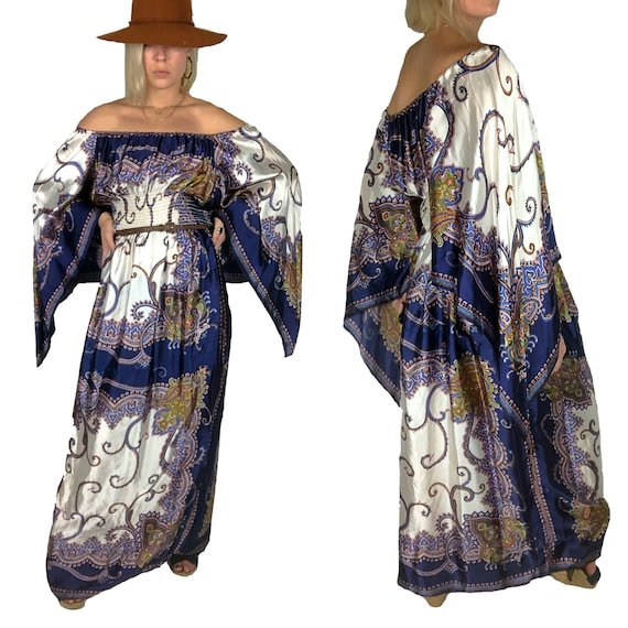 1970s Scarf Dress, 1970s Boho Dress, 70s Volup Vin