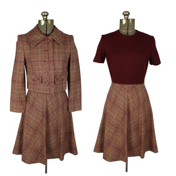 1960s Plaid Dress & Jacket, 1960s Plaid Outfit, 19
