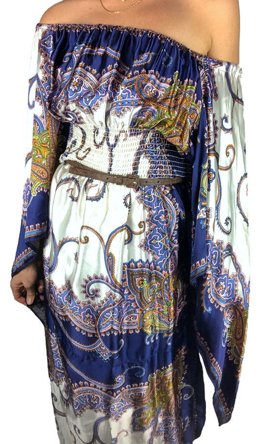 1970s Scarf Dress, 1970s Boho Dress, 1970s Dress,… - image 5