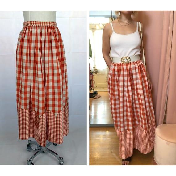 Vintage Prairie Skirt, 1960s Gingham Skirt, Vintag