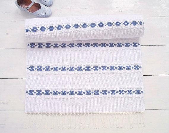 Weiss Blau Laufer Skandinavischen Stil Teppich Nordischen Etsy