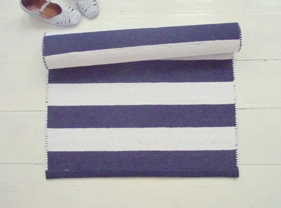 White And Navy Floor Runner Nautical Runner Rug White And
