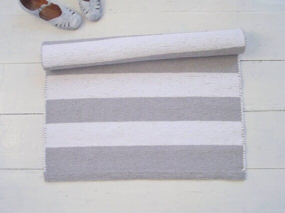 Striped Runner Rug White And Grey Cotton Rug Scandinavian