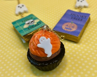 Ghostly Delights Necklace, Book Jewelry, Halloween Necklace, Halloween Jewelry, Halloween Cupcake Necklace, Halloween Mini Book Necklace