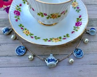 Blue Victorian Tea Necklace
