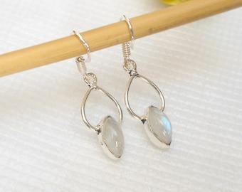 Rainbow moonstone earring marquise dangle earrings natural gemstone jewelry silver artisan silver wire earrings birthstone jewelry