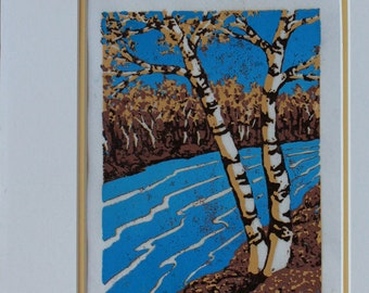Linocut birches with River