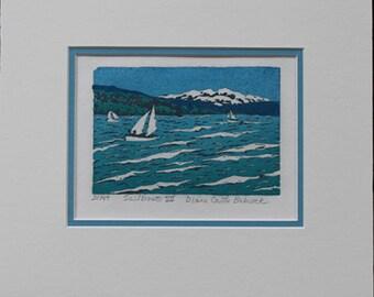 Sailboat linoleum block print