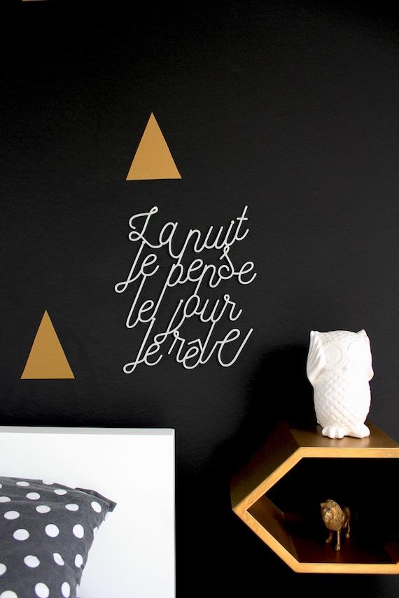 La nuit je pense Lettering cut in plexiglas\u00ae to hang