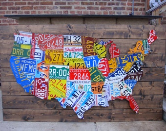 Us Map License Plate Etsy - Us-map-with-license-plates