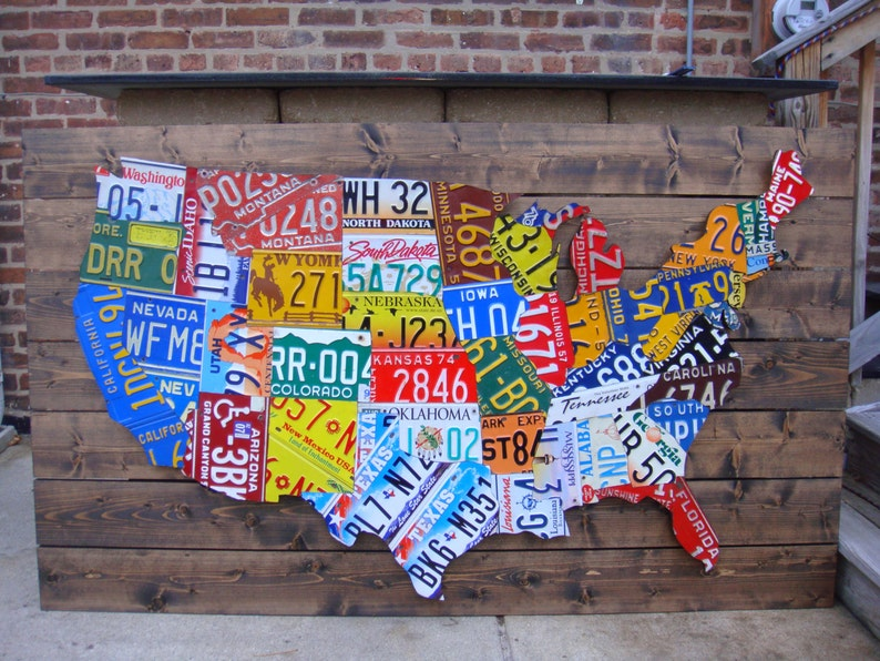 Large 3d Usa License Plate Map Art All 50 States Pub Bar Etsy - Us-map-license-plates