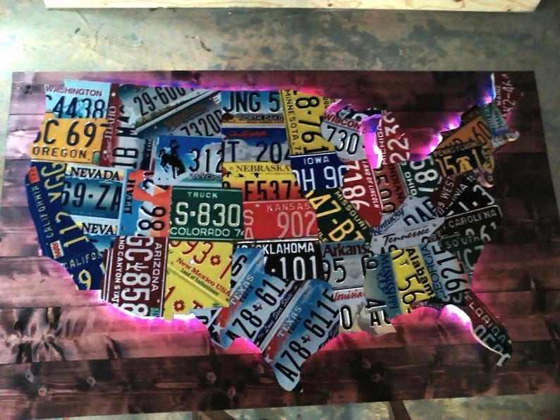 Large LED Lighted 3-D USA License Plate Map Art!!! - Metal Wall Art- on map wall decor metal art, map made of books, map white on white art, map made of tools, map of united states license, map made of paper, map made of flowers, map made of buttons,
