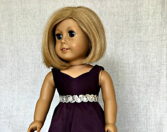 18 inch doll formal dress -  18 inch doll clothes - AG purple evening gown - fits the  American Girl and similar 18 inch dolls