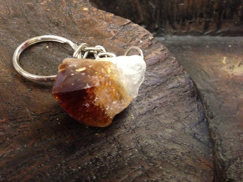 Citrine Amethyst Crystal keychain-Chakra-Raw Healing Stone Two ...
