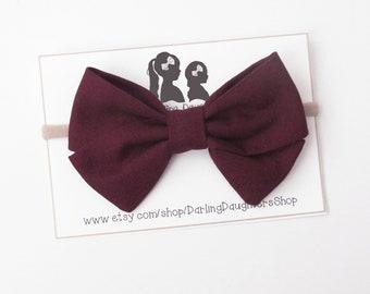 Salmon Mauve Baby Girl Fall Felt Bow Headbands Burgundy Dark Beige Bow Headband Clip Newborn BowsNylon Headband Headband Set