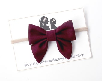 Maroon Crushed Velvet Hand Tied Bow for Newborn Baby Child Little Girl Photo Prop Adorable Beautiful Fall Winter Love Christmas Bow