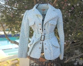 Baby Blue QUILTED Cotton day Trip JACKET, Prairie Jacket, Size XS, Delicate Floral design with white piping accents, 4 front pockets belt