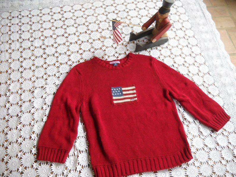 9359e68e5 Ralph Lauren Polo Jeans Red Patriotic Sweater with Flag Size