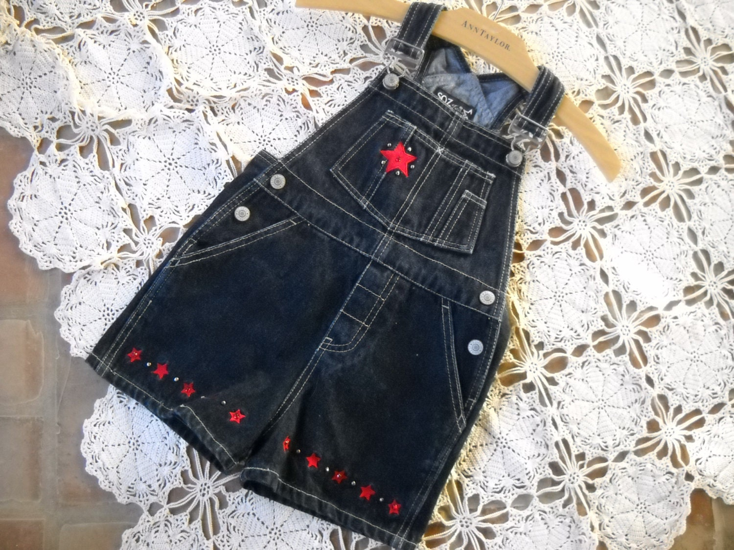 Vintage Overalls & Jumpsuits Boys Or Girls Bib Overalls, Patriotic Navy Denim With Embroidered Stars Size L, 6x, Classic Overall Styling Rhinstones  Stud Accents $7.80 AT vintagedancer.com