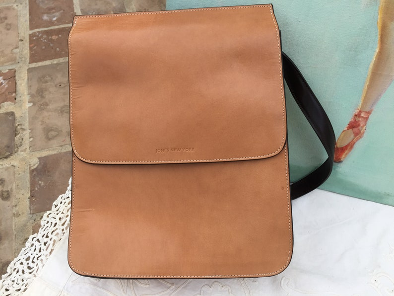 HEAVY DUTY LEATHER Back Pack by Jones New York Gorgeous Caramel Brown Hue Black Accent Straps Adjustable with Buckles /& Hardware
