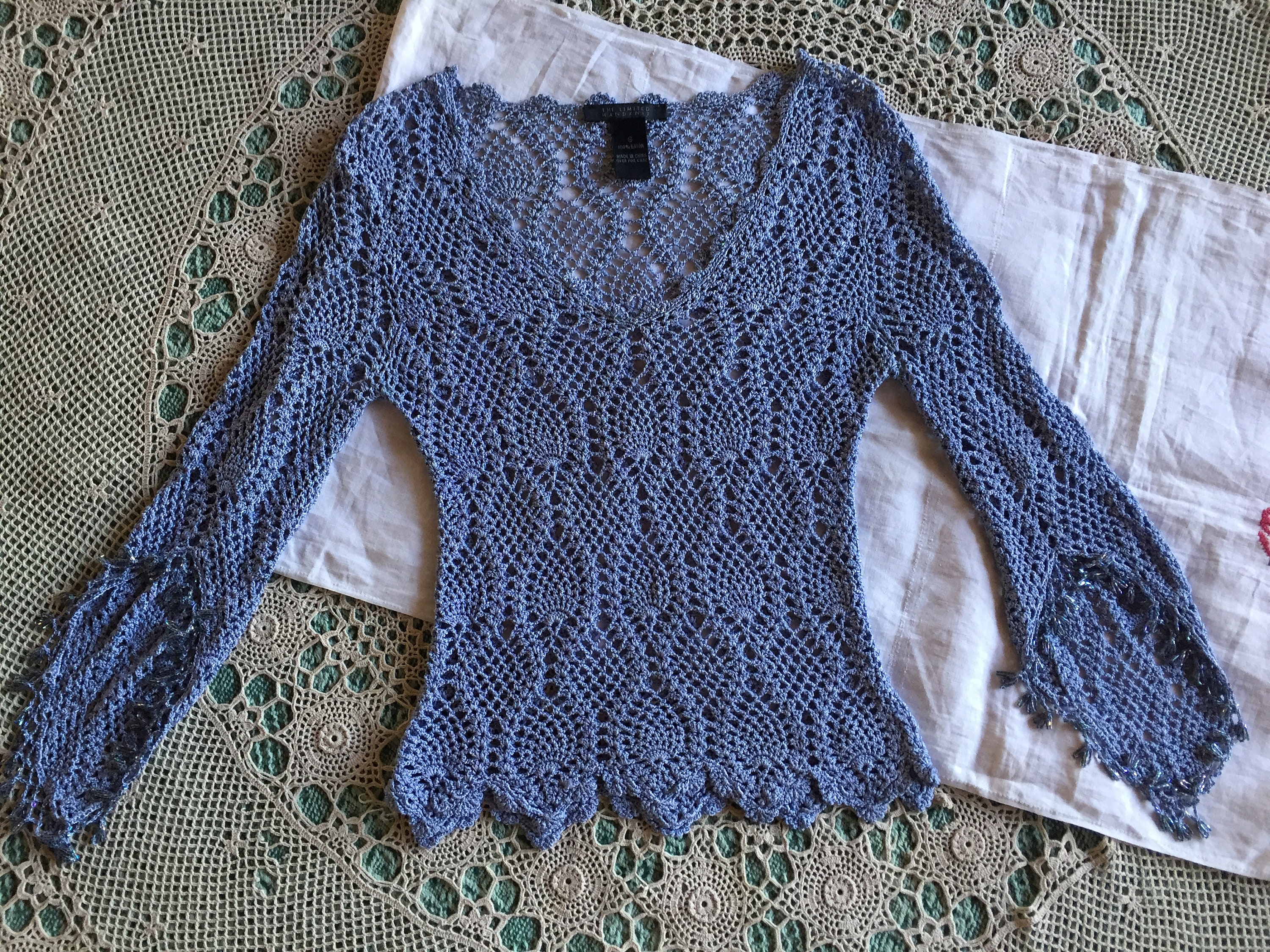 80s Sweatshirts, Sweaters, Vests | Women Vintage The Limited 1980S Hand Crochet Pullover Sweater in Stunning Ice Blue With Crystal Beads At Hem  Tapered Sleeves 100 Rayon $33.00 AT vintagedancer.com