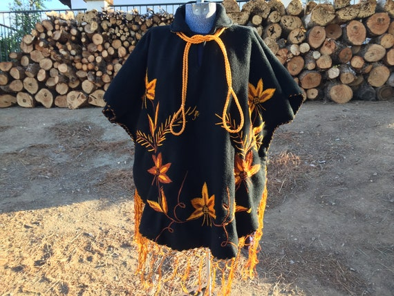 Black 1960s HEAVY Felted Wool Mexican Embroidered