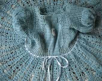 Cornflower Baby Blue Vintage hand crochet little girls dress, size 4 to 5, Vintaage hand made in the 50s,