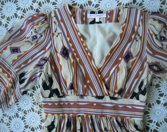 Silk Terracotta & Lavender Navajo Print Betsey Johnson Bell Sleeve dress Classic Vintage Betsey Johnson,  in size 2 cute with boots