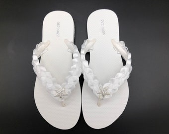 7c643bbbe242 White Bridal Flip Flops