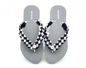 ff42b3047 Oakland Raiders Custom Flip Flops - Women Old Navy Silver Flip Flops -  Custom Weaved Flip Flops