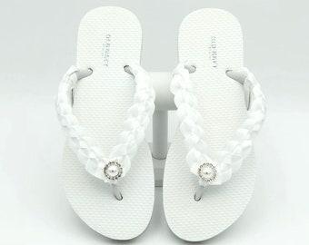 46299d0ff94c21 White Bridal Flip Flops - Wedding Flip Flops - Beach Wedding Flip Flops - Flower  Girl Flip Flops - Quinceanera Flip Flops