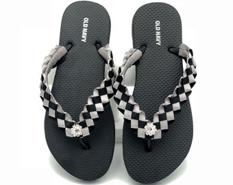 13bf54076 Oakland Raiders inspired Custom Flip Flops - Women Old Navy Black - Custom  Silver and Black Weaved Flip Flops